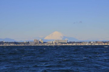 東京湾から三浦半島越しの富士山