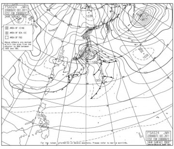 明日朝9時の予想天気図
