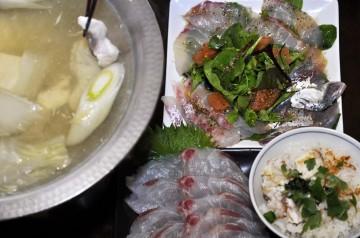 クロダイのしゃぶしゃぶと炊き込みご飯・クロダイとアジとイワシのカルパチョ・・・
