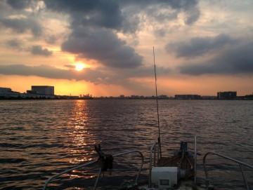 多摩川の夕日に向かって帰港します・・・明日はキス釣り!