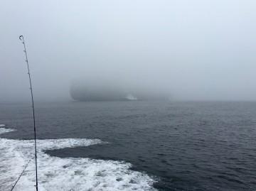 大型コンテナ船の上部は霧で見えません