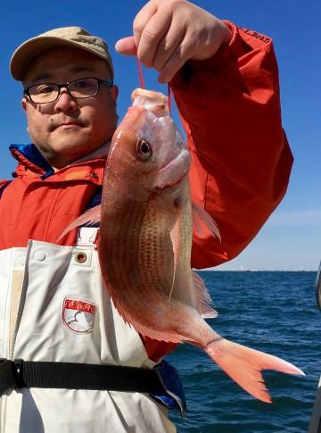 福田さんのお兄さんに・・・1.09kgのハナダイが・・・!