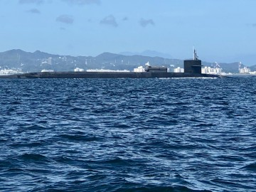 背中にカメをおんぶしている変わった潜水艦発見!