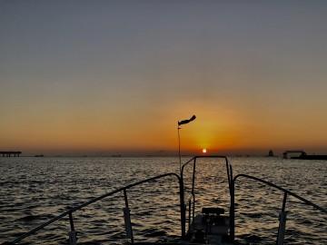 多摩川河口で日の出・・・!