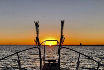 日の出の多摩川河口・・・門松つけて・・・!