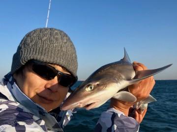 最初に上がってきたのは冷たい目をしたサメ・・・!